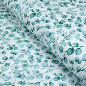 Tissu double gaze de coton fleurs vintage - Blanc et vert - Oekotex ® et GOTS ® Autres marques - Tissus et mercerie - 1