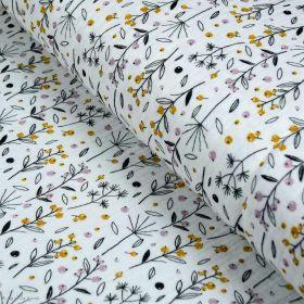 Tissu double gaze de coton fleurs et baies - Blanc, ocre et rose - Oekotex ® et GOTS ® Autres marques - Tissus et mercerie - 1