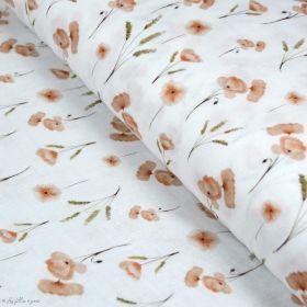 Tissu double gaze de coton coquelicots - Blanc et rouge - Oekotex ® et GOTS ® Autres marques - Tissus et mercerie - 1