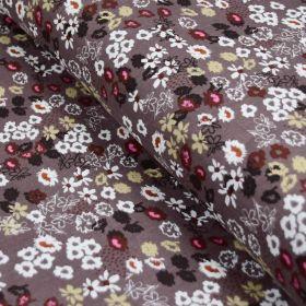 Tissu double gaze de coton fleurs - Marron et noir - Oekotex ® et GOTS ® Autres marques - Tissus et mercerie - 1