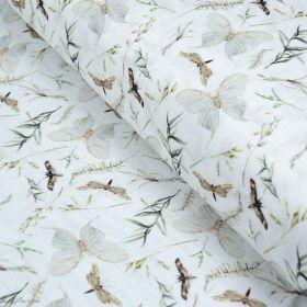 Tissu double gaze de coton papillons et fleurs - Blanc et tons marrons, ocre - Oekotex ® et GOTS Autres marques - Tissus et merc