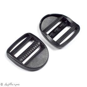 Boucles de réglage en plastique pour sangle - Noir - 32mm - Lot de 2  - 1