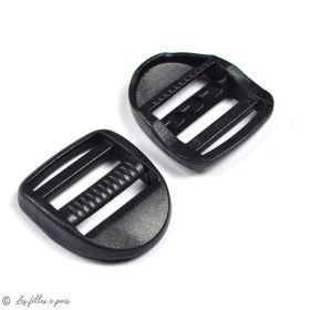 Boucles de réglage en plastique pour sangle - Noir -25mm - Lot de 2  - 1