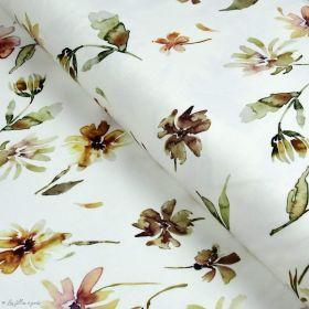 "Tissu jersey coton motif fleurs  ""Florance"" - Blanc, tons marrons et roses - Oeko-Tex ® Family Fabrics ® - Tissus oekotex - 1"