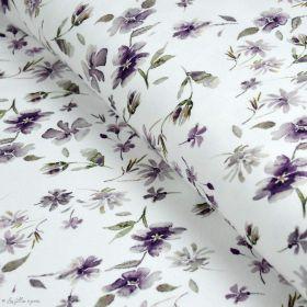 """Tissu jersey côtelé motif fleurs """"Wild Daisie"""" - Blanc et violet - Oeko-Tex ® Family Fabrics ® - Tissus oekotex - 1"""