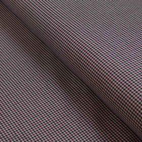 Tissu gabardine de coton stretch motif pied de poule - Beige, noir et bordeaux Autres marques - Tissus et mercerie - 1