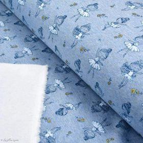 Tissu jersey sweat digital coton glitter motif fillettes - Bleu gris et ocre - Oekotex ® Autres marques - Tissus et mercerie - 1