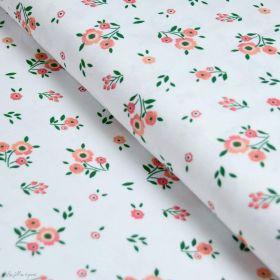 """Tissu jersey coton motif fleurs """"Boho Flowers""""- Blanc et corail - Oeko-Tex et GOTS ® Autres marques - Tissus et mercerie - 1"""