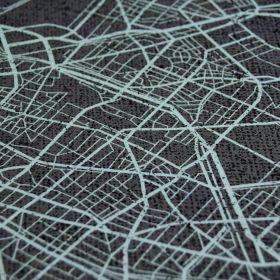 """Panneau de tissu réseau Urbain esprit """"GTA"""" - Ton gris et bleu vert - Oeko-Tex ® Autres marques - Tissus et mercerie - 1"""