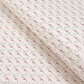 """Tissu jersey motif coeur """"Open heart"""" - Ecru, rose et noir - Oekotex - AGF ® Art Gallery Fabrics ® - Tissus - 1"""