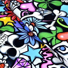 """Tissu coton motif tête de mort """"Street Skull"""" - Multicolore - Henry Alexander ® Alexander HENRY Fabrics ® - Tissus - 1"""