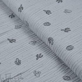 Tissu double gaze de coton gris motif cactus - Oekotex ® Autres marques - Tissus et mercerie - 1