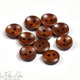 Bouton rond en bois vernis - 15mm - Marron - Lot de 6  - 1