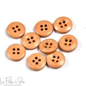 Bouton rond en bois vernis - 13mm - Marron - Lot de 10  - 1