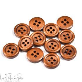 Bouton rond en bois vernis - 12mm - Marron - Lot de 10  - 1