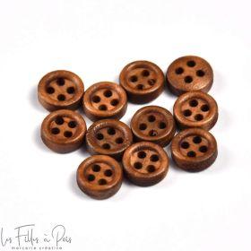 Bouton rond en bois vernis - 9mm - Marron - Lot de 10  - 1