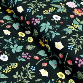 """Tissu jersey coton motif fleurs """"Vintage Botanical"""" - Noir et multicolore - Oeko-Tex et GOTS ® Autres marques - Tissus et mercer"""