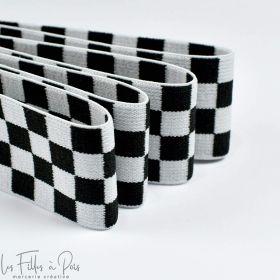 Elastique ultra doux motif damier - Blanc et noir - 40mm  - 1