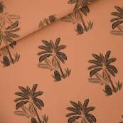 """Tissu french terry coton """"PALM TREES"""" motif palmiers - Marron et noir -  Oeko-Tex ® - See You At Six ®"""