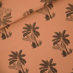 """Tissu french terry coton """"PALM TREES"""" motif palmiers - Marron et noir -  Oeko-Tex ® - See You At Six ® See You At Six ® - Tissus"""