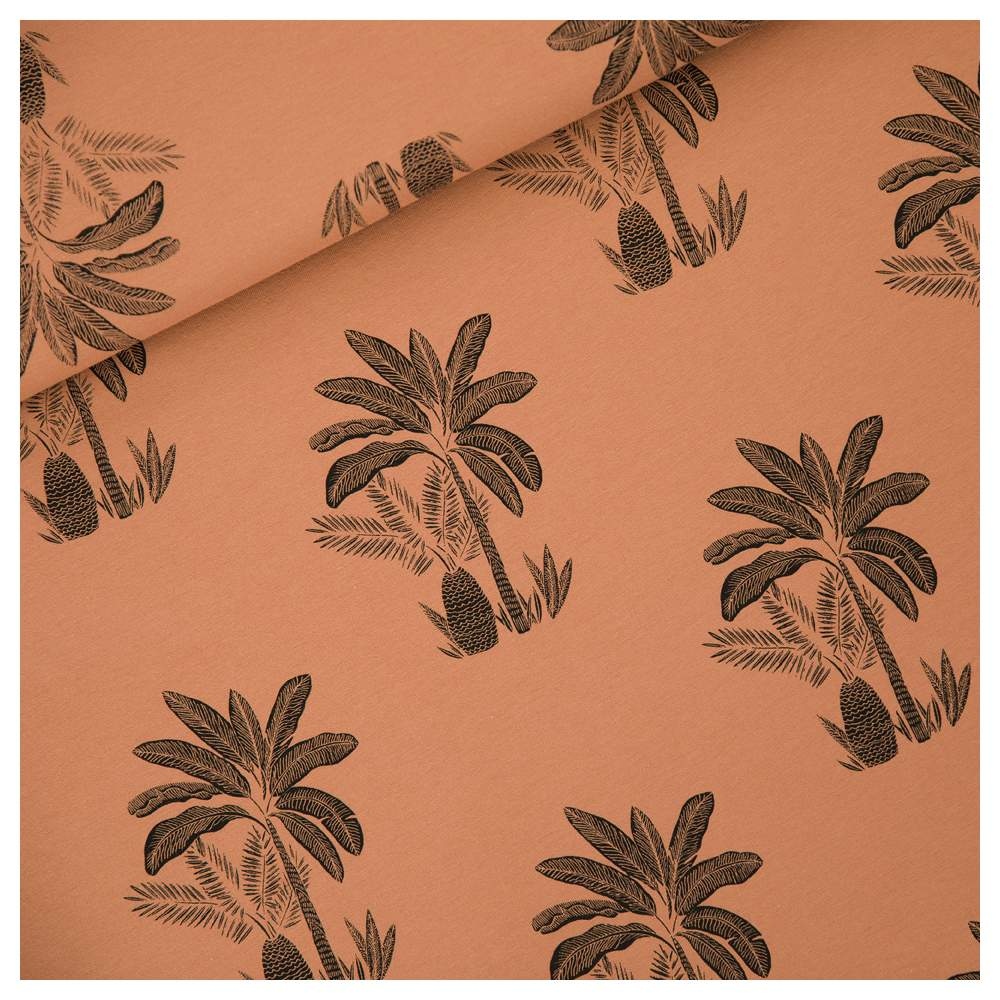 """Tissu french terry coton """"PALM TREES"""" motif brun - Marron et noir -  Oeko-Tex ® - See You At Six ® See You At Six ® - Tissus Oek"""