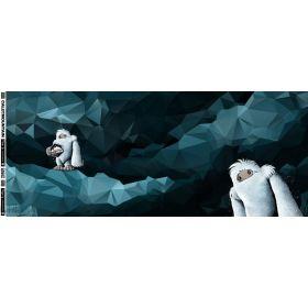 """Panneau de tissu motif Yeti """"Yeti Rocks"""" - Tons bleu pétrole et foncé - Oeko-Tex ® Autres marques - Tissus et mercerie - 1"""