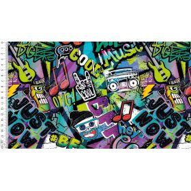 Tissu jersey motif graffitis - Multicolore - Oeko-Tex ® Autres marques - Tissus et mercerie - 1