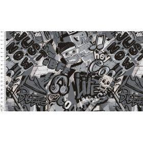 Tissu jersey motif graffitis - Noir et blanc - Oeko-Tex ® Autres marques - Tissus et mercerie - 1