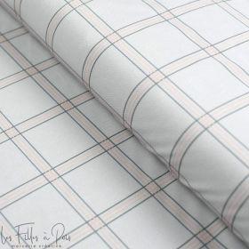 """Tissu minky velours motif carreaux collection """"Petit Fernand"""" - Rose et gris - Les Filles à Pois ® - Oeko-Tex ® Les Filles à Poi"""