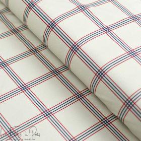 """Tissu minky velours motifs carreaux collection """"Petit Fernand"""" - Ecru, bleu et bordeaux - Les Filles à Pois ® - Oeko-Tex ® Les F"""