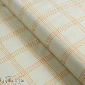"""Tissu minky velours motif carreaux collection """"Petit Fernand"""" - Ecru, ocre et rose - Les Filles à Pois ® - Oeko-Tex ® Les Filles"""