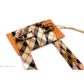 Biais carreaux esprit écossais - Marron, beige et rouge - 20mm Fillawant® by DMC ® - 1