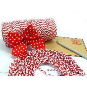 10m de ficelle double Baker's Twine coton rouge et blanc 2mm