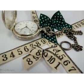 Ruban coton vintage motif mètre couture écru et noir - 15mm