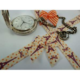 Ruban coton vintage motif tour Eiffel écru et violet - 15mm