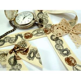 Ruban coton vintage motif cachet de poste écru et marron - 25mm