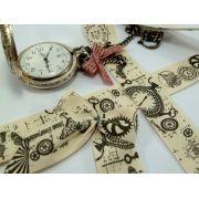 Ruban coton vintage motif cachet de poste écru et gris - 25mm