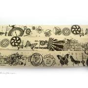 Ruban coton vintage motif cachet de poste écru et gris - 25mm - 2