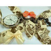 Ruban coton vintage motif haute couture écru et marron - 25mm - 1