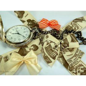 Ruban coton vintage motif haute couture écru et marron - 25mm