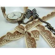 Ruban coton vintage motif dentelle écru et marron - 20mm