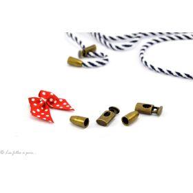 Arrêts cordons et 2 fins de cordons - Bronze - Lot de 2 - 1