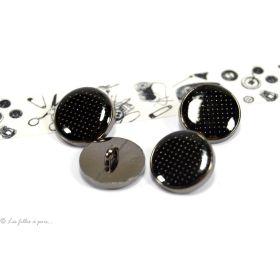 Boutons à queue motif plumetis - 12mm - Métal noir laqué