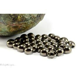 Boutons demi-boule - 10mm - Métal noir laqué