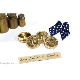 Boutons demi-boule motif ancre - 23mm - Métal doré