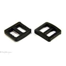 Lot de 2 boucles coulissantes de réglage en plastique noir pour sangle 10mm