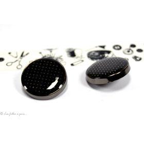 Boutons demi-boule motif plumetis - 20mm - Métal noir laqué