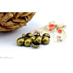 Boutons demi-boule - 10mm - Métal bronze