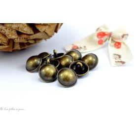 Boutons demi-boule avec rebord - 12mm - Métal bronze