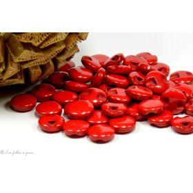 Boutons boule plat - 12.5mm - Rouge - Lot de 10